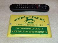 """VINTAGE JOHN DEERE FRAM IMPLEMENTS TRACTORS 7"""" PORCELAIN METAL GASOLINE OIL SIGN"""