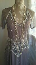 Vtg 1920,s style Gatsby downton grey sequin beaded wedding prom dress size 8 uk