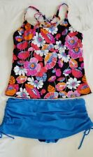 Island Escape strappy back floral tankini and Hamptons skirtini two piece set 16