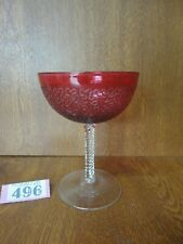 Unusual Red Crystal Champagne Saucer / Bowl / Glass