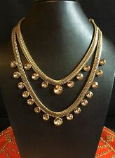 Crystal Double String Golden Choker Statement Necklace-Indian Wedding Accessory