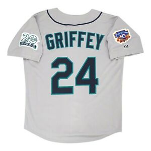 Ken Griffey Jr. Seattle Mariners 1997 Grey Road Jersey w/ Jackie 50th Patch
