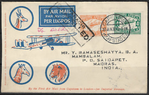 South Africa 1932 Airmail Karachi Cancelled. Cape Town CDS 27/1/32 Sent to India