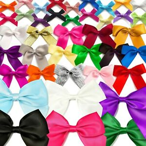 SATIN BOWS Pre-Tied Ribbon Gift Wedding Crafts 250 OPTIONS Small-Large 3/5/10cm