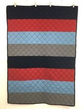 Pottery Barn Kids Boys Quilt Blanket Blue Gray Red Striped Nursery Bedding 36x50
