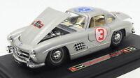 Burago 1/24 Scale Model Car 2518E - Mercedes Benz 300 SL Racing Car - Silver