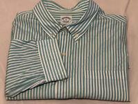 Brooks Brothers 1818 Aqua blue white slim men's polo LS men's striped shirt XL