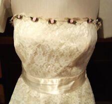 Boho Hippie Lace Dress Cream Oyster Pink Ribbon Rose Buds Wedding Vintage 70's