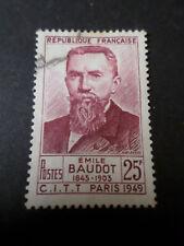 FRANCE 1949 timbre 846, EMILE BAUDOT oblitéré, VF STAMP, CELEBRITY