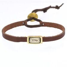 Leather Quote Bracelet Cuff Word Bracelet LIVE Bracelet Far Fetched
