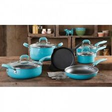Non-Stick Cookware Set 10 Pc Home Kitchen Cooking Speckle Turquoise Aluminum