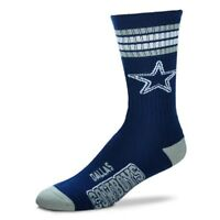 Dallas Cowboys For Bare Feet NFL Men's 4-Stripe Deuce Crew Socks SZ L
