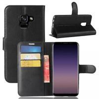 Samsung Galaxy A8 (2018) Cartera Funda Cover Flip Wallet Case bolsa Carcasa Negr