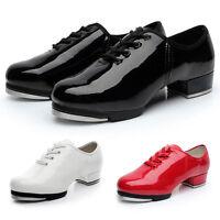 Pop Mens Tap Dance Shoes Low Heel Anti-Slide Wearproof Dancer Shoes W/Tap Plates