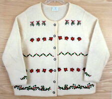 SUSAN BRISTOL 100% Wool Christmas Winter Cardigan Sweater 2X 3X 24W 26W Approx