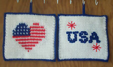 Double Thick Crocheted Patriotic Heart Potholders / Hotpads - set of 2