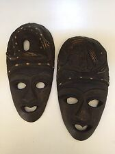 """Wooden Masks Hand Carved Wood Ethnic Art Decor Mask 8"""" (Lot of TWO) Fish Snake"""