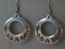 VINTAGE STERLING SILVER MEXICO TAXCO ABALONE INLAY EARRINGS SOLID 13.2g