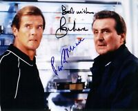 Hand Signed 8x10 colour photo ROGER MOORE & PATRICK MACNEE  in JAMES BOND + COA