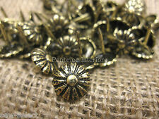 100 DAISY UPHOLSTERY NAILS BRASS FURNITURE FLOWER STUDS tacks chair fabric pins
