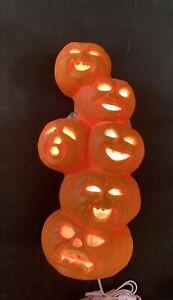 """VTG Gemmy Lighted Halloween Foam Blow Mold Pumpkin Totem 15"""" Tall"""