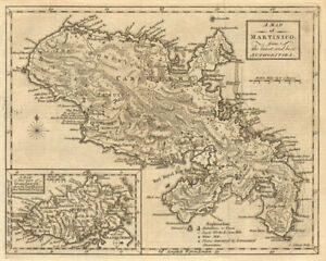 Martinico & Basse-Terre, Guadeloupe. Martinique. Antilles. GIBSON 1759 old map