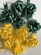 10 Green/Yellow Pull Bow Ribbon Wedding Gift Wrap Hamper Basket Partys Xmas