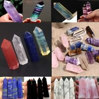 100% Natural Fluorite Quartz Crystal Stone Point Pipe Healing Hexagonal Wand Top