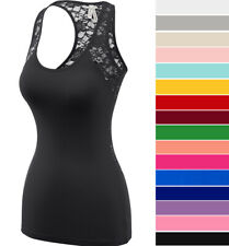 Women's Sheer Lace Racerback Tank Top Scoop Neck Sleeveless Soft Stretch Cotton