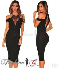 Womens Midi Dress Black Party Bodycon Evening Pencil Wiggle Cocktail Size 8 10-S