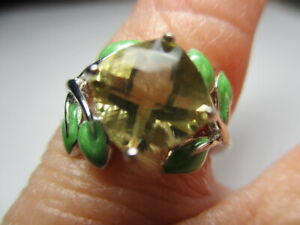 STERLING SILVER ESTATE CUSHION YELLOW CITRINE GREEN LEAF ACCENTS RING SIZE 6