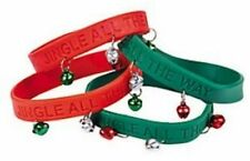 """Pack of 6 - Christmas """"Jingle All The Way"""" Rubber Wristband Bracelets with Bells"""