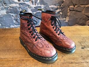 Dr Martens Vintage Women's Boot Red Boatex UK Size 6 Made In England 8 Eyelet