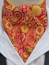 Mens Yellow & Red Retro Paisley Design Ascot Cravat & Kerchief/Pocket Square