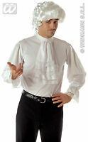 MENS WHITE GEORGIAN REGENCY STEAMPUNK 80s NEW ROMANTIC FANCY DRESS COSTUME SHIRT