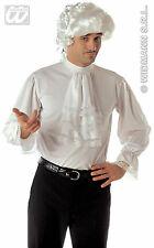 MENS WHITE GEORGIAN REGENCY STEAMPUNK 80s NEW ROMANTIC FANCY DRESS COSTUME SHIRT