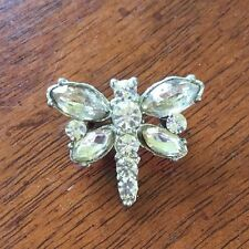 """Vintage Dragonfly Brooch Rhinestone Pin Signed """"Creative"""" 1 in. sq."""