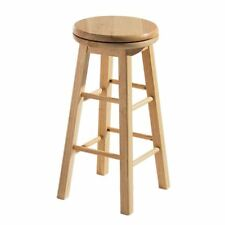 Revolving Kitchen Bar Stool with Solid Natural Tropical Hevea Wood Comfortable