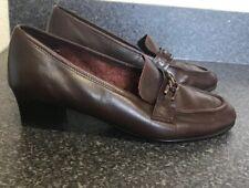 Clark's UK 7 Real Leather Dark Chestnut Brown Block Heel Court Shoes Work Smart