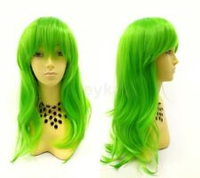 Long Straight Color Wig with Bangs Anime Cosplay Costume Pink Orange Purple Blue