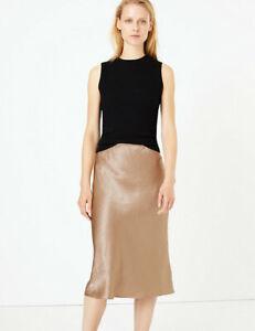 Marks & Spencer Collection Silky Satin Slip Midi Skirt In Navy - 6