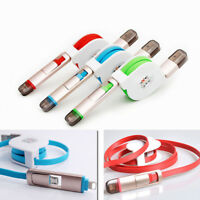 2 in 1 Retractable Micro USB Sync Data Charger Cable For iPhone Android Samsung