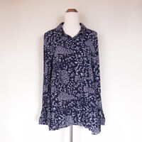 KATIES Navy Blue White Floral Long Sleeve Button Up Tunic Blouse Top Size 14 XL