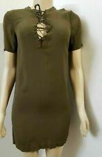New listing MADEWELL Novella Lace-Up Olive Green  women's Dress  Size XXS Shift Short-sleeve