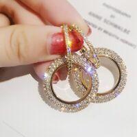 Frauen Damen Neue Ohrringe Ringform Tropfen Strass Schmuck Ohrclip Kristall Mode