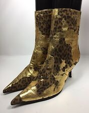 Charles Jourdan Women's Gold/Cheetah Ankle Boots Shoe Size 7.5 B Great!