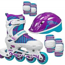 Roller Derby Carver Girls Adjustable Inline Skates PLUS Protective Pack US 3-6
