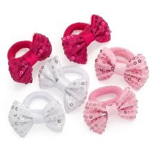 3 Pairs Pinks White Sequin Ribbon Bow Hair Bobbles Donuts Ponios Bobbles Bands