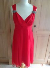 GORGEOUS LK BENNETT RED SILK DRESS DIAMONTE DETAIL ON STRAPS UK SIZE 10 WORN