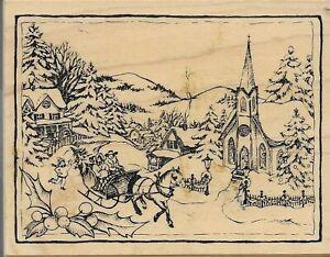 PSX rubber stamp K-2754 CHRISTMAS VILLAGE Winter Scene SLEIGH RIDE Church Trees